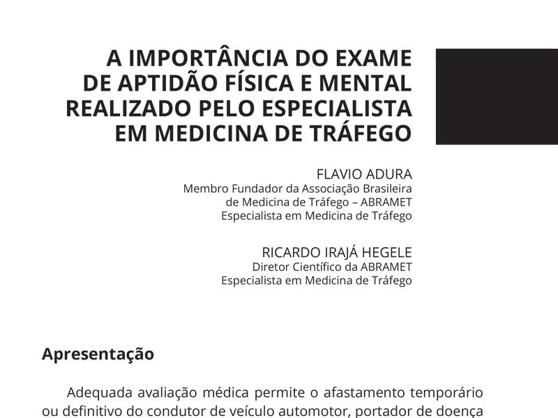 Exame de Aptidão Física e Mental em Medicina de Tráfego